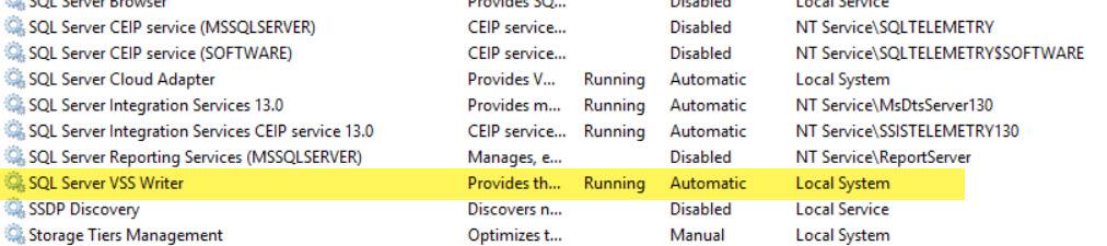 the sql server vss writer service hung on starting