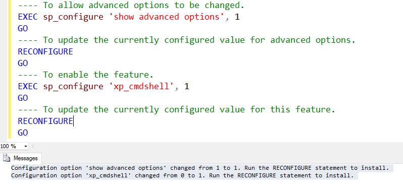 SQL SERVER - Enable xp_cmdshell using sp_configure xp_cmdshell