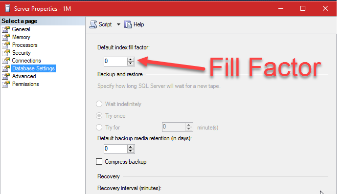 SQL SERVER - Change Default Fill Factor For Index fillfactorinsql