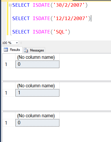 SQL SERVER - Validate Field For DATE datatype using function ISDATE() isdate