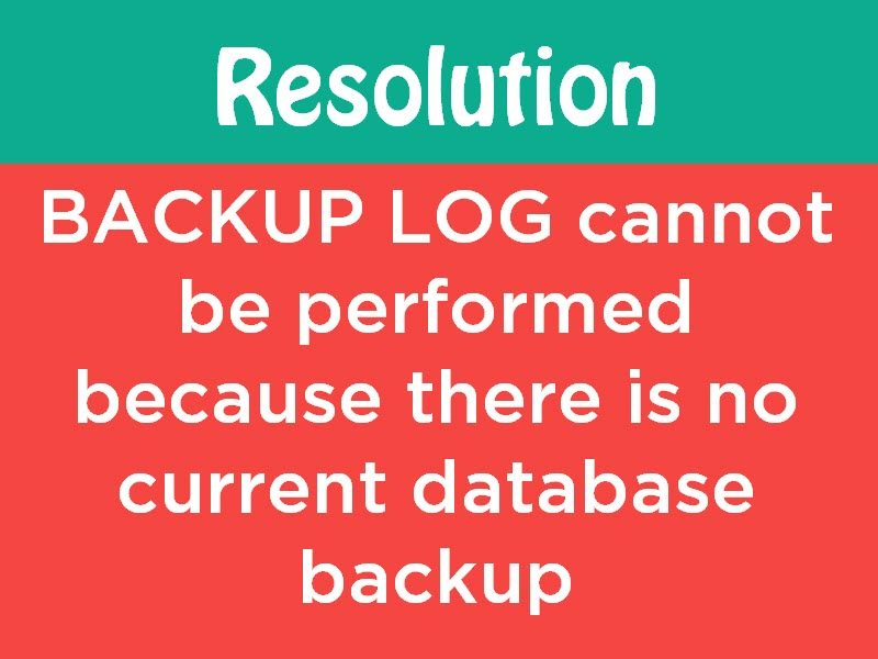 SQL SERVER - FIX : ERROR : 4214 BACKUP LOG cannot be performed because there is no current database backup backuplog-800x600