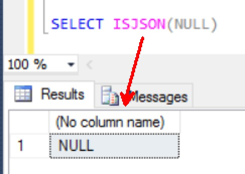 SQL SERVER - 2016 - Check Value as JSON With ISJSON() ISJSON-NULL-01