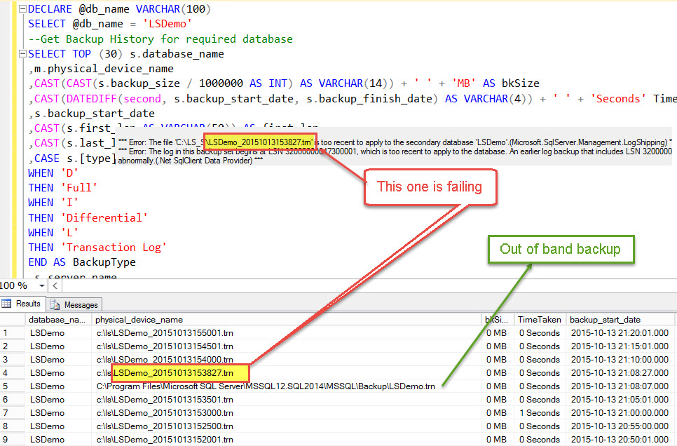 SQL SERVER - Log Shipping Restore Job Error: The file is too recent to apply to the secondary database LS-Restore-02