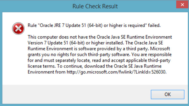 "SQL SERVER - 2016 FIX: Install – Rule ""Oracle JRE 7 Update 51 (64-bit) or higher is required"" failed Ora-JRE-02"