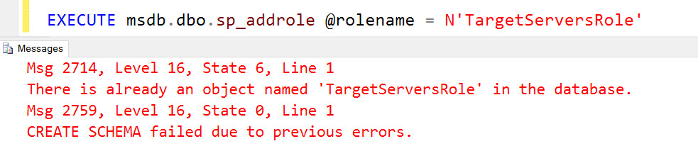 SQL SERVER - Script level upgrade for database 'master' failed - CREATE SCHEMA failed due to previous errors TS-Role-01