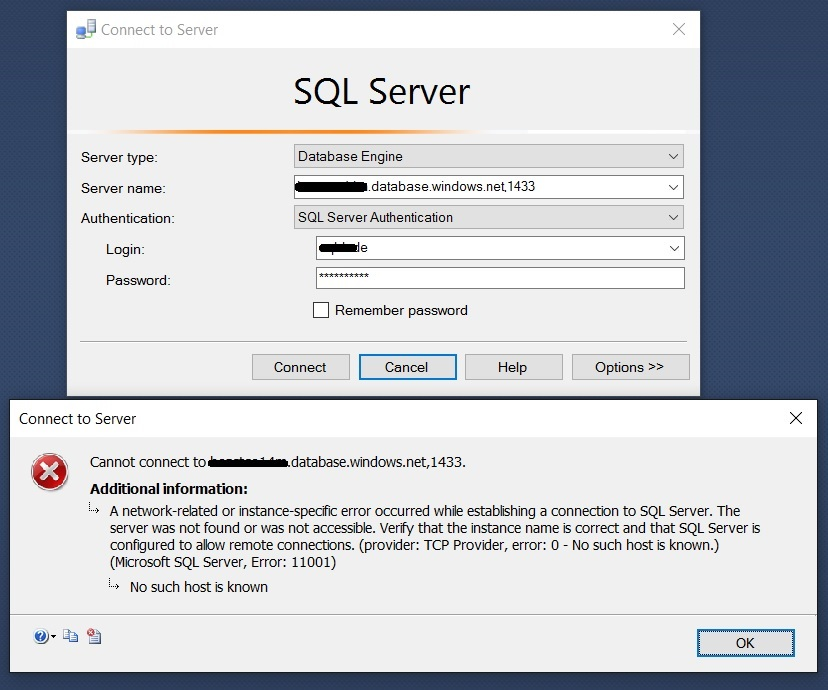SQL SERVER - Connecting to Azure SQL DB azure-db-01