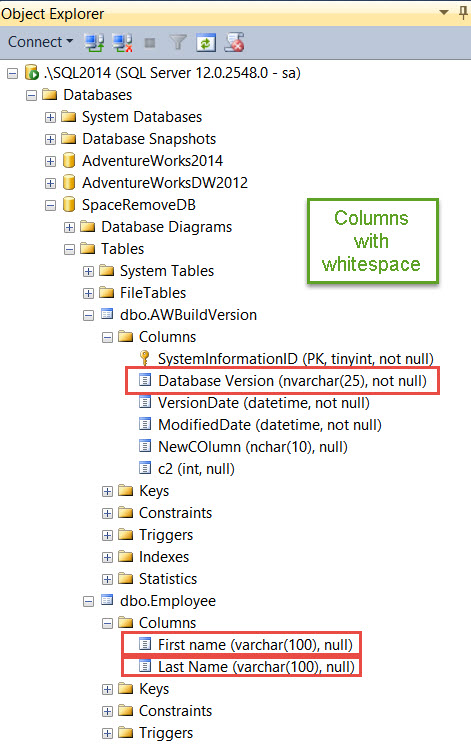 SQL SERVER - Script: Remove Spaces in Column Name in All Tables