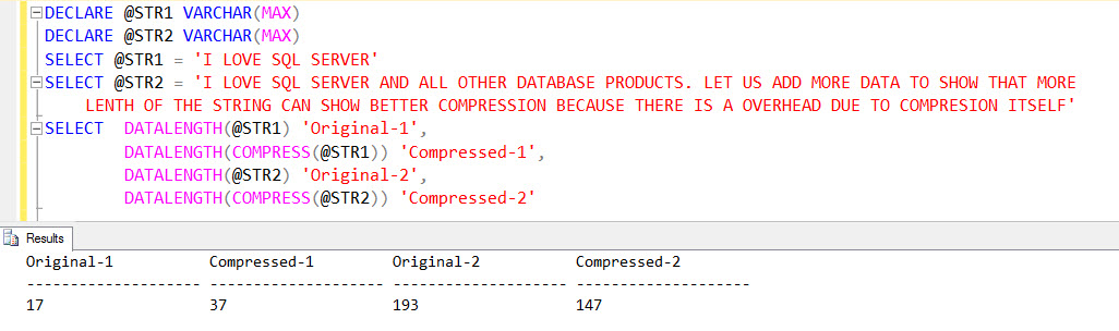 SQL SERVER 2016 - New T-SQL Functions - COMPRESS - DECOMPRESS compress-02