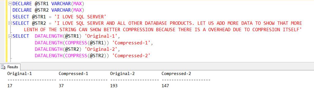 SQL SERVER 2016 - New T-SQL Functions - COMPRESS - DECOMPRESS - SQL