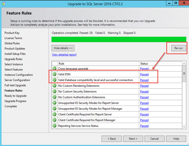 "SQL SERVER - Failed Rule ""Valid DSN"" and ""Valid Database compatibility level and successful connection"" ctp-ssrs-10"