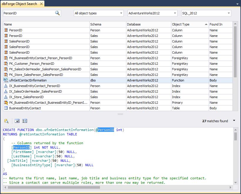 SQL SERVER - dbForge Object Search for SQL Server devsearch01