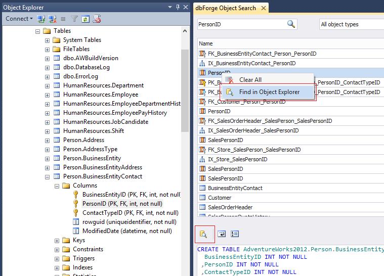 SQL SERVER - dbForge Object Search for SQL Server devsearch04