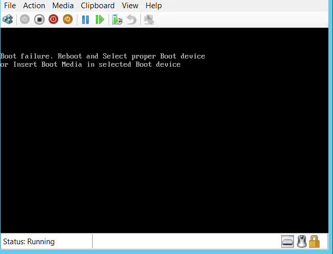 Hyper V: Error and Fix - Fix – Boot failure. Reboot and Select proper Boot device hyperv-01