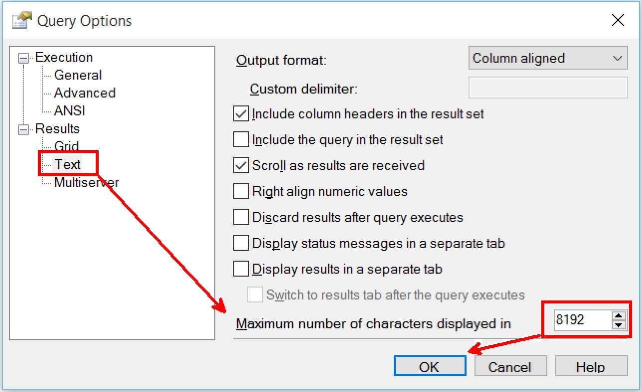 SQL SERVER - Increase Characters Displayed in Text Results - SQL