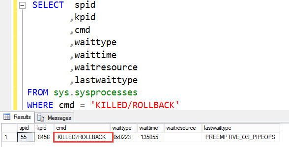 SQL SERVER – SPID is KILLED/ROLLBACK state. What to Do Next? killed-01