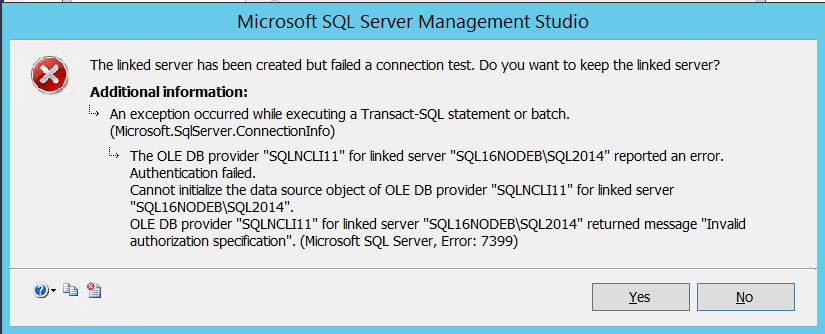 SQL SERVER - Linked server creation error: OLE DB provider