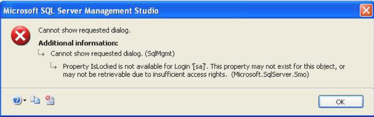 SQL SERVER - FIX – Property IsLocked is Not Available for Login locked-01