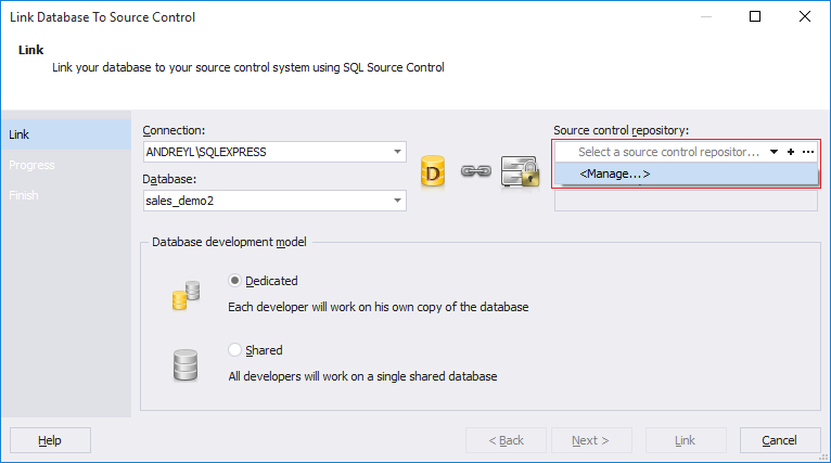 SQL SERVER - Dedicated Database Development with SQL Source Control manage_sc_repo
