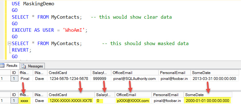 SQL Server - 2016 - New Feature: Dynamic Data Masking mask-01