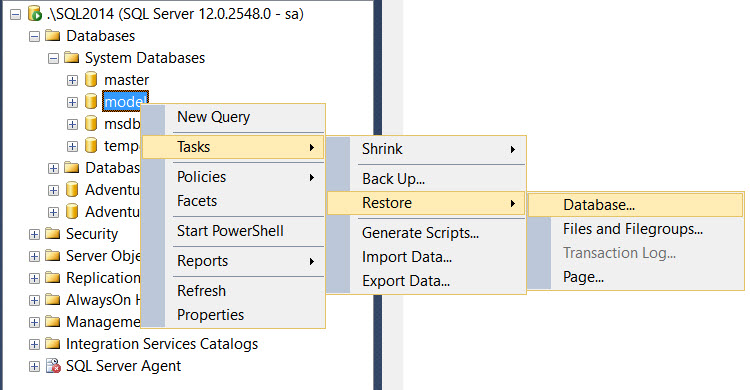 SQL SERVER - How to Restore Corrupted Model Database from Backup? model-03