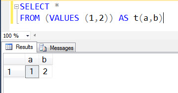 SQL SERVER - Creating Dataset Using VALUES Clause Without Creating A Table multirow1