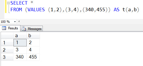 SQL SERVER - Creating Dataset Using VALUES Clause Without Creating A Table multirow2