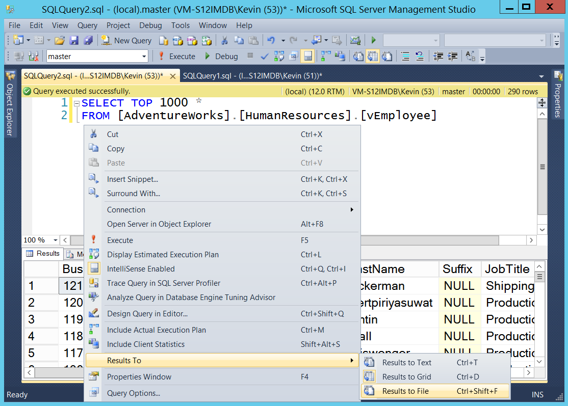 SQL SERVER - Converting Standard SSMS File Results to Delimited - Notes from the Field #085 notes85-1
