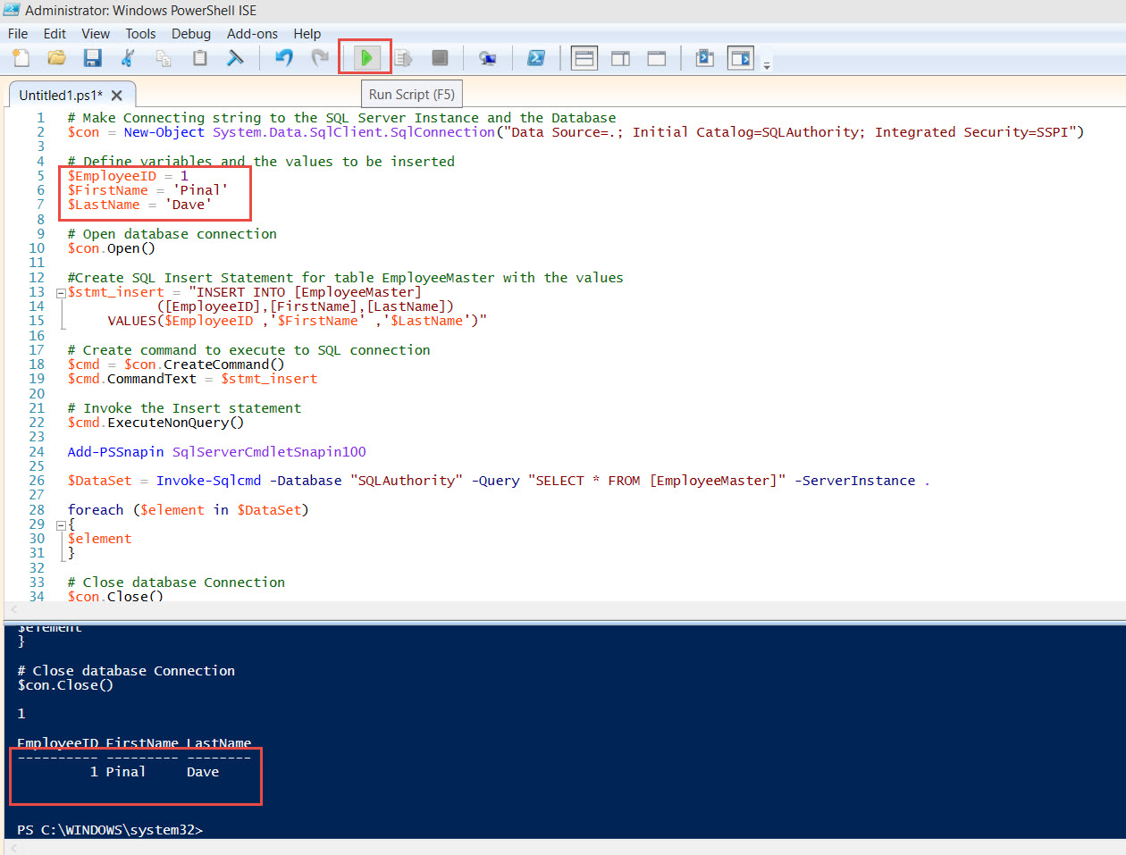 SQL SERVER - Using PowerShell and Native Client to run queries in SQL Server sql-ps-sample-01