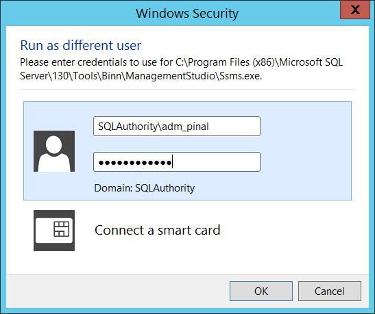 SQL SERVER - Trick - Running SSMS With Different Windows Account ssms-runas-02