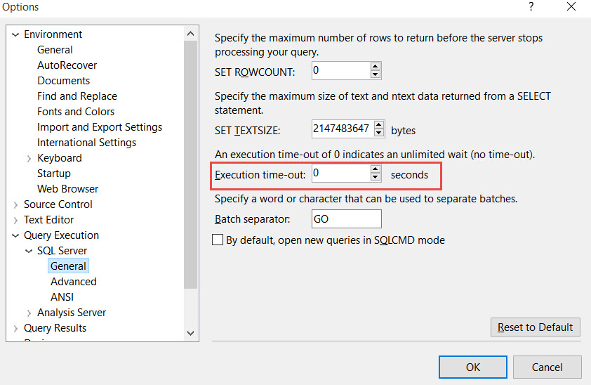 SQL SERVER - Timeout expired  The timeout period elapsed prior to