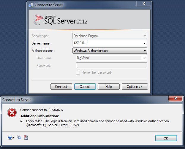 SQL SERVER - FIX ERROR - Cannot connect to . Login failed. The login is from an untrusted domain and cannot be used with Windows authentication. (Microsoft SQL Server, Error: 18452) 127error