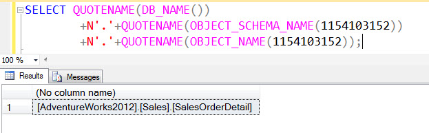SQL SERVER - Building Three-Part Name from OBJECT-ID - Database Name, Schema Name, TableName 3partname