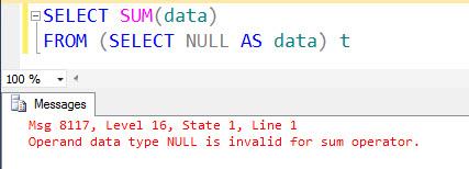 SQL SERVER - A Puzzle - Fun with NULL - Fix Error 8117 8117error