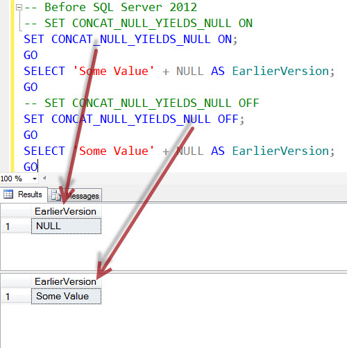 SQL SERVER - Interesting Observation of CONCAT_NULL_YIELDS_NULL and CONCAT in SQL Server 2012 onwards CONCAT_NULL_YIELDS_NULL1