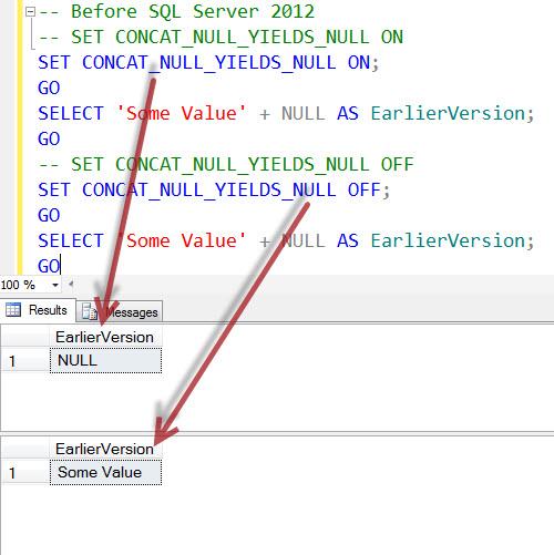 SQL SERVER - Interesting Observation of CONCAT_NULL_YIELDS_NULL and CONCAT CONCAT_NULL_YIELDS_NULL1