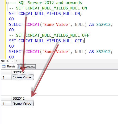 SQL SERVER - Interesting Observation of CONCAT_NULL_YIELDS_NULL and CONCAT CONCAT_NULL_YIELDS_NULL2