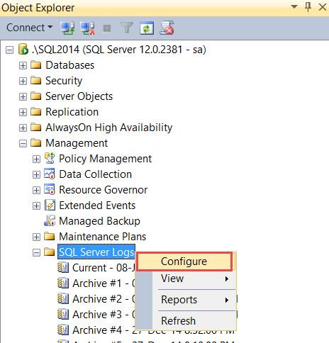 SQL SERVER - How to Increase Number of Errorlog Files ErrLog-01
