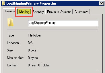 SQL SERVER - Log Shipping - Sharing Tab Missing in Folder Properties LS-ShareTab-04