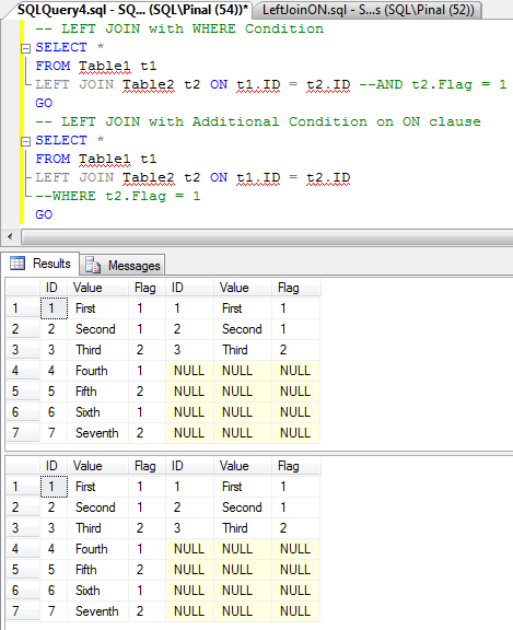 SQL SERVER - Interesting Observation of ON Clause on LEFT JOIN - How ON Clause affects Resultset in LEFT JOIN  LeftJoinON3