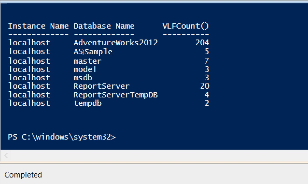 SQL SERVER - PowerShell to Count Number of VLFs in SQL Server PS_VLF_Count_01