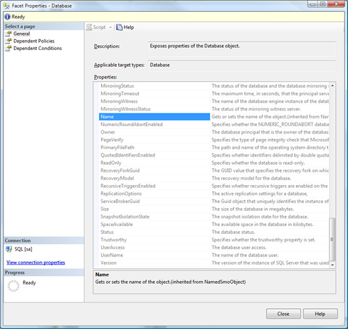 SQL SERVER - Policy Based Management - Create, Evaluate and Fix Policies PolicyManagement3