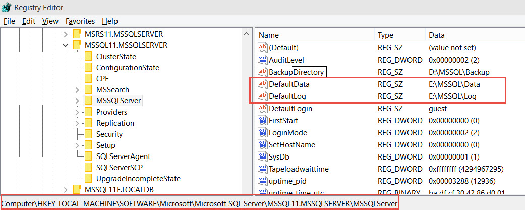 SQL SERVER - Service Pack Error - The User Data directory in the registry is not valid. Verify DefaultData key under the instance hive points to a valid directory RegistryData-01