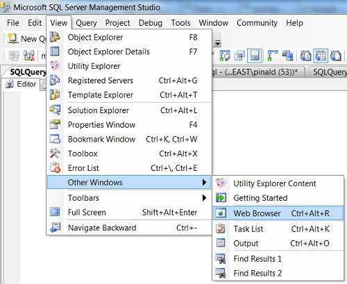 SQL SERVER - Management Studio and Browser in Same Application - SSMS Browser SSMS-Browser1