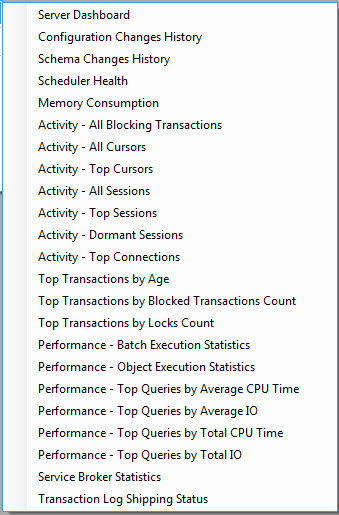 SQL SERVER - Out of the Box - Activity and Performance Reports from SSSMS SSMSReport2