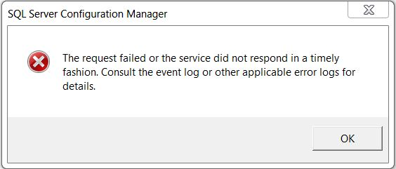 SQL SERVER - Fix : Error : The request failed or the service did not respond in a timely fashion StartError