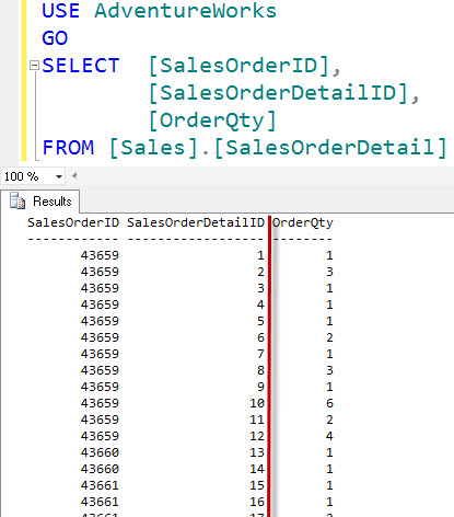SQL SERVER - Right Aligning Numerics in SQL Server Management Studio (SSMS) aligncol3