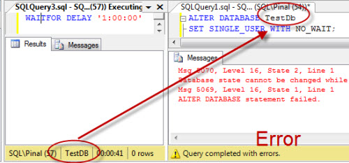 SQL SERVER - Difference Between ROLLBACK IMMEDIATE and WITH NO_WAIT during ALTER DATABASE alterdb1