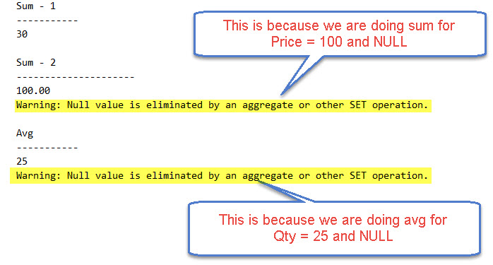 SQL SERVER - Warning: Null value is Eliminated by an