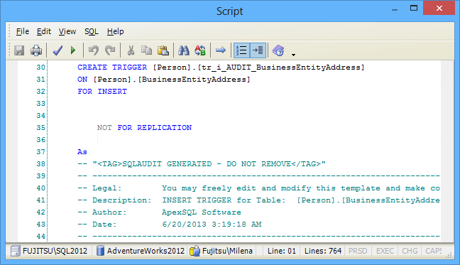 SQL SERVER - Auditing and Profiling Database Made Easy with ApexSQL Trigger and ApexSQL Audit image007