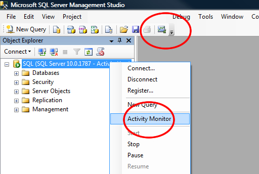 SQL SERVER - 2008 - Location of Activity Monitor - Where is SQL Serve Activity Monitor Located avmonact